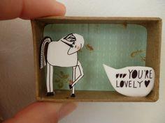 I Think...You're Lovely Unicorn diorama message matchbox. $12.00, via Etsy.