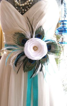 Beautiful Peacock Luxe bridal flower sash or brooch by icing101, $75.00