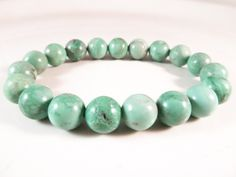 Variscite Stretch Bracelet Rare 10mm Mint Green Smooth Round Gemstone Beads by SandiLaneFineArt on Etsy