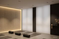 Small Yoga Studio interior design project by Bezmirno Architect. Created inspired by the idea to create a modern space «for friends only Yoga Room Design, Yoga Studio Design, Gym Design, Yoga Studio Interior, Gym Interior, Interior Architecture, Interior Modern, Adobe Photoshop, Power Workout