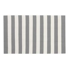 grey and white striped rug.