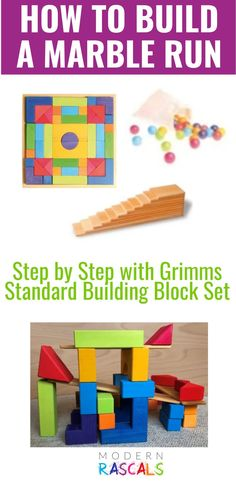 Want to know how to make a ball run with your rainbow stackers? In this post, we share exactly how to use Grimms rainbow stackers and other stacking toys to make a marble or ball run. Kids will have so much fun once it's complete! A perfect addition to your open ended playroom! Grimm's Toys, Baby Toys, Grimms Rainbow, Blue Block, Stacking Toys, Creative Play, Imaginative Play, Wooden Toys, Playroom