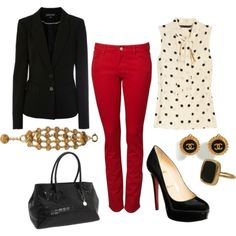 I love the red skinny jeans with the polka dot top!