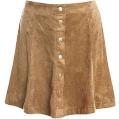 Sans Souci Perforated vegan suede flare skirt ($34) ❤ liked on Polyvore featuring skirts, camel, camel suede skirt, suede mini skirt, faux leather skirt, suede button skirt and mini skirt