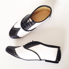 Black and White Pony Brogues Handmade to Order