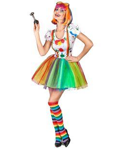 Disfraz de payaso pintor multicolor mujer: Este disfraz de payaso para mujer es un vestido (peluca, gafas, bocina y zapatos no incluidos).El vestido de manga corta y bombacha es blanco con manchas de pintura. Los tirantes falsos son...