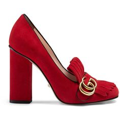Gucci Suede Pump ($790) ❤ liked on Polyvore featuring shoes, pumps, red, foldable shoes, gucci footwear, suede fringe shoes, gucci and red pumps