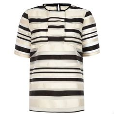 Black organza stripe boxy tunic - t-shirts - tops - women