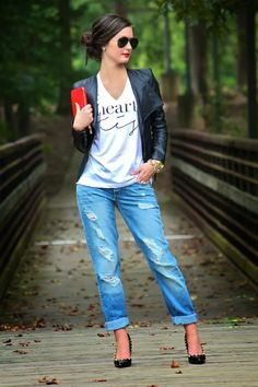 For All Things Lovely - distressed denim, leather jacket, heels