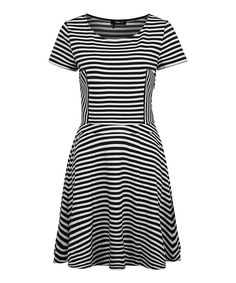 Look at this Ivory & Black Stripe Skater Dress on #zulily today!