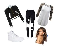 """KC Undercover"" by lovefashiongirl2002 ❤ liked on Polyvore featuring Moschino and Vans"