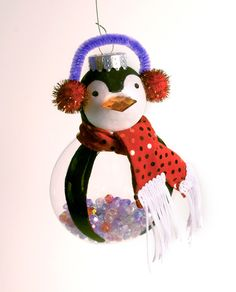 Glass Penguin Ornament with red scarf. $15.00, via Etsy.