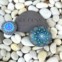 Blue Dotty Mandala Rock with Bonus Peace Rock by InnerSasa on Etsy