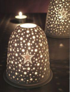 small porcelain pierced star tea light holder (gray, light, candle, lamp, home decor, star)