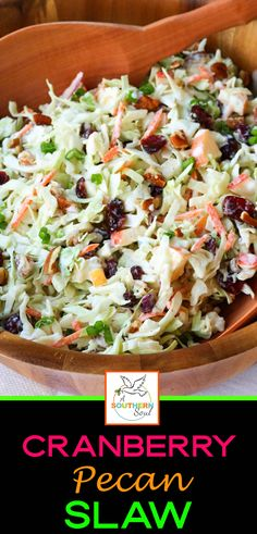 Take your coleslaw to a whole new level with sweet, tangy cranberries and crunchy pecans. Mix in an apple and some savory, green onions then toss them all in a creamy dressing for a dish that will be a favorite at any gathering! Winter Salad Recipes, Apple Salad Recipes, Slaw Recipes, Healthy Recipes, Clean Eating, Healthy Eating, Coleslaw Mix, Side Dish Recipes, Side Dishes