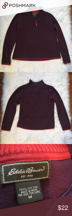 Eddie Bauer Quarter Zip Sweater Jacket Good used condition. Minor pilling throughout and faded at seams. Small hole at the base of the neck, as shown. Eddie Bauer Sweaters