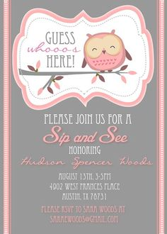 Sip and See Cute Owl Shower Invitation by HelloLoveBoutique. , via Etsy. Owl Shower, Shower Bebe, Shower Party, Baby Pumpkin Pictures, Baby In Pumpkin, Sip And See Invitations, Baby Shower Invitations, Babyshower, Baby Shower Themes