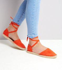 Wide Fit Orange Ankle Tie Espadrille Sandals | New Look