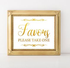 Unique Wedding Favours Sign Feminine Printable Vintage Calligraphy Gold Decor Rustic Signs Favor