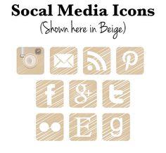 Social Media Icon Buttons via Etsy