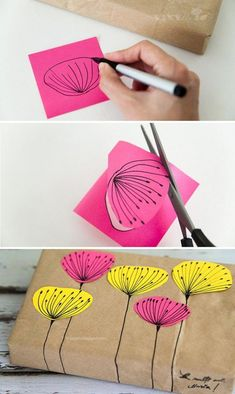 Brown Paper Gift Wrapping with Flowers - 14 Useful yet Unique DIY Gift Wrapping Tutorials You Should Learn Diy Gift Wrapping Tutorial, Creative Gift Wrapping, Creative Gifts, Wrapping Ideas, Wrapping Papers, Wrapping Gifts, Diy Crafts For Gifts, Easy Crafts, Furoshiki
