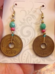 Japanese coin earrings in turquoise and coral on Etsy, $12.95