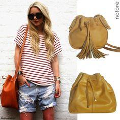 O modelo de bolsa que tem tudo a ver com passeios ao ar livre! Bolsa saco, bucket bag caramelo. Notore Bolsas.