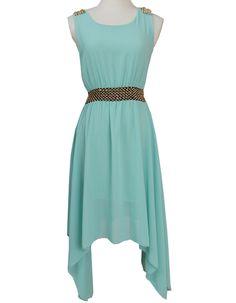 Green Sleeveless Belt Asymmetrical Rivet Dress EUR€12.03