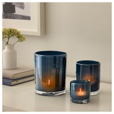 IKEA BLÄNDANDE candle holder, set of 3 Dual function; can be used both as a vase and a lantern. Dining Room Office, Flowers In Jars, Candle Packaging, Family Room Decorating, At Home Furniture Store, Wedding Table Decorations, Wedding Centerpieces, Candle Holder Set, Vase