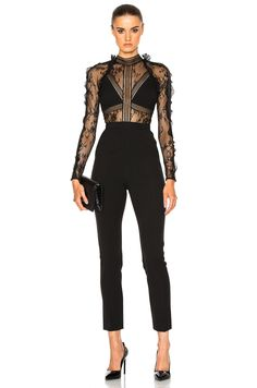 This jumpsuit is chic, elegant and modern in design a beautiful black embroidered lace with ruffles, high neckline, skinny leg bottom. Vestidos Fashion, White Lace Romper, Merian, Lace Jumpsuit, White Jumpsuit, Playsuit Romper, Posh Girl, Overall, Embroidered Lace
