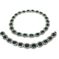 09fe49693e2 Original Christian DIOR 1960s Faux Emerald   Diamond Necklace and Bracelet  - Simply divine and rare!