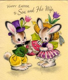 vintage card - lovely bunny couple