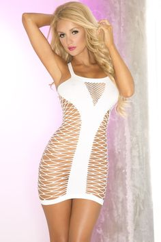 Unique white multinet seamless dress from Pink Lipstick, Pure white dress with crucial coverage in all the right places. Looks great on a girls night out.