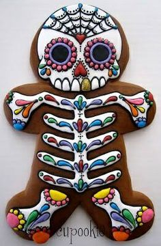 Sugar Skull Cookie on gingerbread man shape