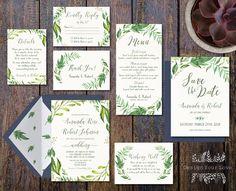 printable greenery wedding invitation suite green wedding
