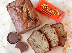 Peanut Butter Cup Banana Bread Recipe.  I didn't use pb cups.  I just used a bag of pb chips and a bag of chocolate chips.  Worked great!  I made these into muffins for ease in serving.  It made about 30 muffins, and I baked them for about 25 minutes.