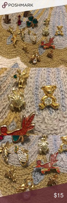 Vintage angels bear 4 leaf clover tac pins No backs Jewelry Brooches