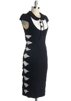 Meet Your Matchmaker Dress. You simply love the concept of love, meeting your latest romance-seeking client in this black and white bodycon dress and charting their personality! #gold #prom #modcloth