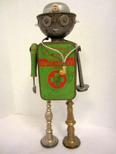 Medic Bot  found object robot sculpture assemblage by ckudja