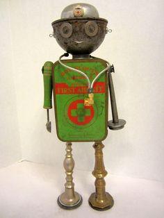 Medic Bot - found object robot sculpture assemblage. $150.00, via Etsy.