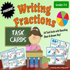 ***FREEBIE*** Writing Fractions Task Cards for Grades 2-4