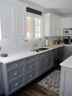 cizcrev Housing color # housing color Use Your House To Pay For Your House Few people have heard of Grey Kitchen Cabinets, Kitchen Cabinet Colors, Kitchen Redo, Home Decor Kitchen, Kitchen Interior, Home Kitchens, Kitchen Remodel, Two Toned Cabinets, Bathroom Interior