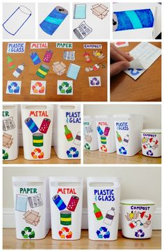 Earth Day Craft: DIY Recycling Center for Kids – thegoodstuff - Recycled Crafts Kids 2020 Recycling Games, Recycling Activities For Kids, Recycling For Kids, Diy Recycling, Recycling Center, Preschool Projects, Reuse Recycle, Preschool Classroom, Easy Fall Crafts