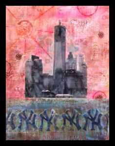 """One World Trade Center""  by Crystal Hover Joint compound, acrylic paint, and encaustics."