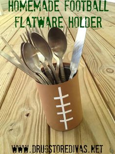 Homemade Football Flatware Holder
