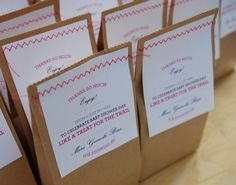 Favors?  I like this little sewn paper bag idea.  Granola bars, cookies, or other treats inside.