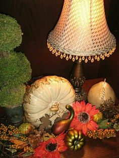 Fall decor-Time to change around all my lampshades, from Summery whites to Fall jewel tones and black.