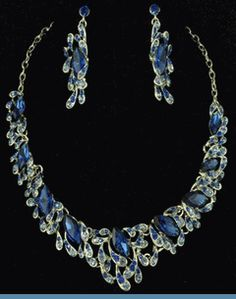 Vintage Style Silvertone Necklace with Earrings Accented with Royal Blue Rhinestones $58  @ www.whimzaccessories.com