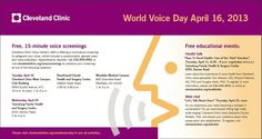 In honor of #WVD2013, Cleveland Clinic will be hosting free voice screenings! Click here for more details! Cleveland Clinic, Health Talk, Appointments, The Voice, Education, World, Day, Free, The World