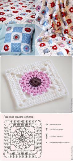 Transcendent Crochet a Solid Granny Square Ideas. Inconceivable Crochet a Solid Granny Square Ideas. Mode Crochet, Crochet Art, Crochet Home, Crochet Motif, Crochet Stitches, Diy Crochet Granny Square, Crochet Square Patterns, Crochet Squares, Crochet Designs